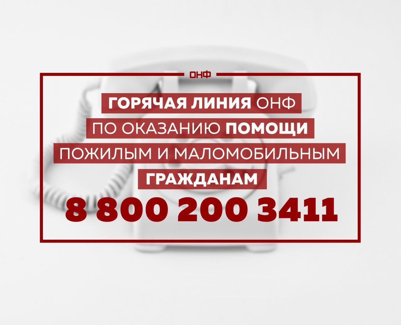 Горячая линия ОНФ по оказанию помощи пожилым и маломобильным гражданам